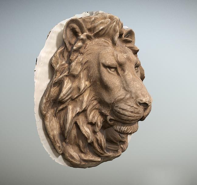 Lion Head Wall Sculpture 3d rendering