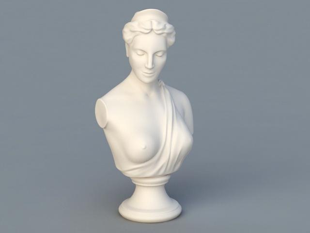 Greek Statue Bust Woman 3d rendering