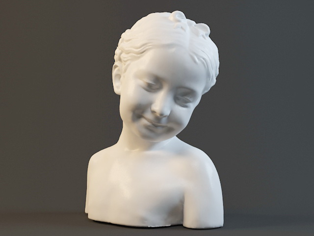 Little Girl Bust Statue 3d rendering