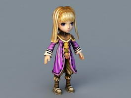 Blonde Anime Girl Character 3d preview