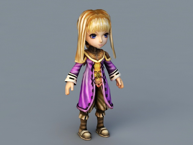 Blonde Anime Girl Character 3d model 3ds Max files free