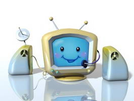 Cartoon Television Set 3d model preview