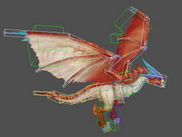 Ancient Red Dragon Rig 3d preview