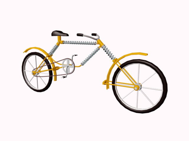Yellow Bicycle 3d rendering