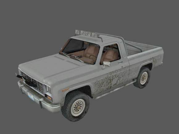 Dirty Old Pickup Truck 3d rendering