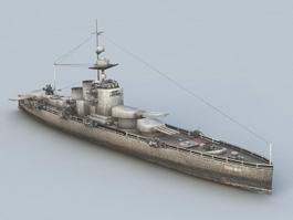WW2 German Battleship 3d model preview