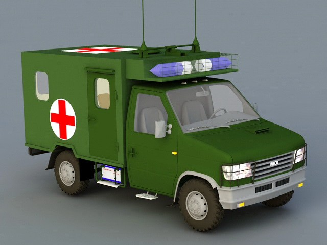 Military Ambulance 3d rendering