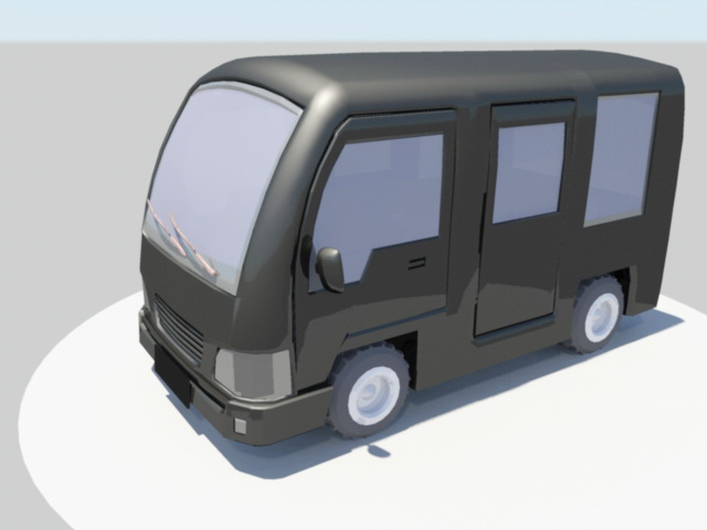 Mini Bus Cartoon 3d rendering
