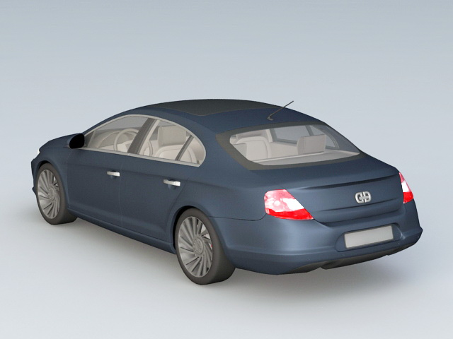 Navy Blue Car 3d rendering