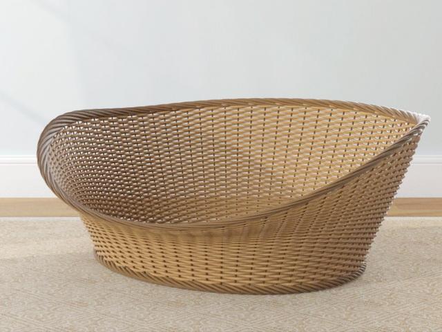 Wicker Basket 3d rendering