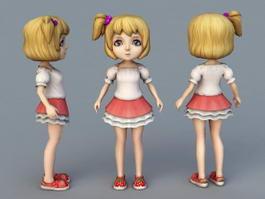 Cute Cartoon Girl Character 3d preview