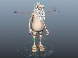 Old Man Cartoon Rig 3d model preview