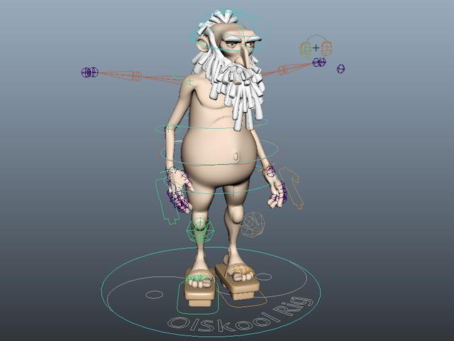 Old Man Cartoon Rig 3d rendering
