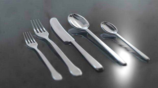 Fork Knife Spoon 3d rendering