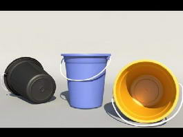 Plastic Buckets with Handles 3d preview