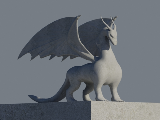 Awesome Dragon Statue 3d rendering