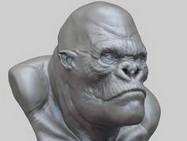 King Kong Bust Sculpture 3d preview