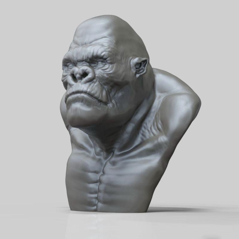 King Kong Bust Sculpture 3d rendering