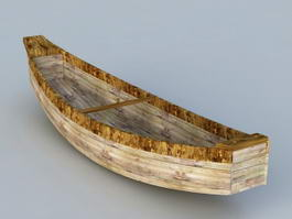 Old Wooden Row Boat 3d model preview