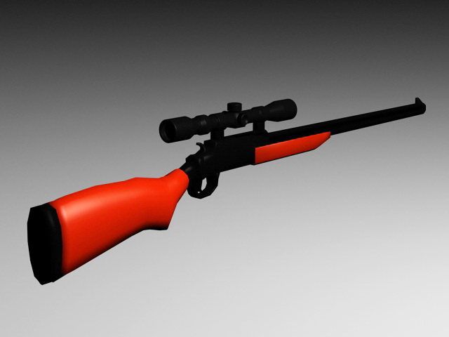 Old Rifle with Scope 3d rendering