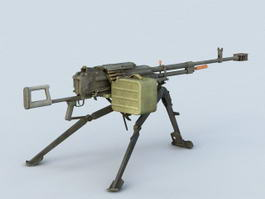 Light Machine Gun with Magazine 3d preview
