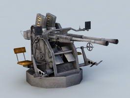25mm Anti Aircraft Machine Gun 3d model preview