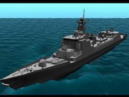Modern Warship Destroyer 3d model preview