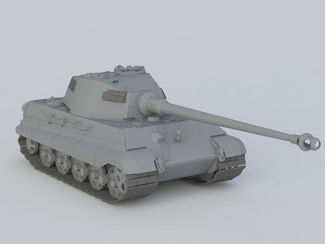 Panzerkampfwagen VI Tiger II 3d rendering