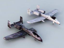 A-10 Thunderbolt II Aircraft Damage 3d preview