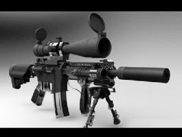 M4 Carbine with Scope and Silencer 3d model preview