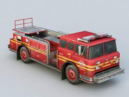 Vintage Ford Fire Truck 3d preview