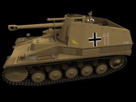 German Howitzer Wespe Tank 3d model preview
