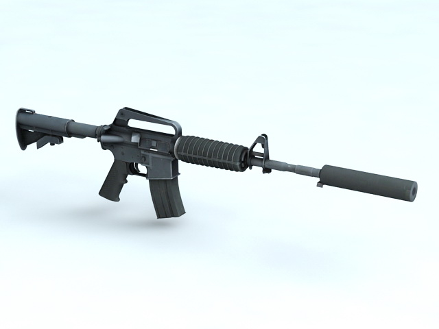 M4A1 Carbine with Silencer 3d rendering