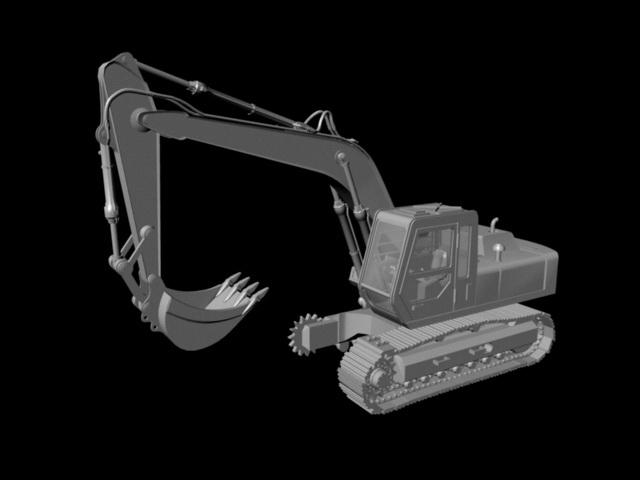 Hydraulic Excavator 3d rendering