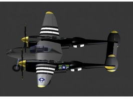 P-38J Fighter Aircraft 3d preview