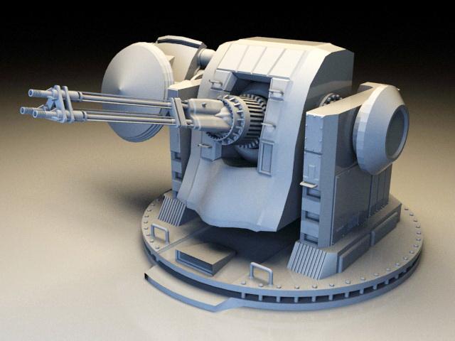 Warship Turret 3d rendering