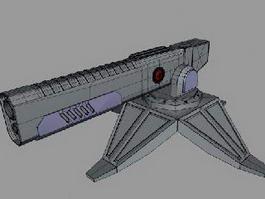 Futuristic Railgun Turret 3d preview
