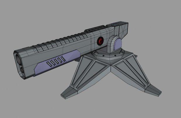 Futuristic Railgun Turret 3d rendering