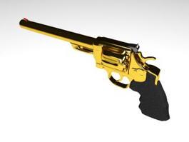 Gold 44 Magnum Revolver 3d preview