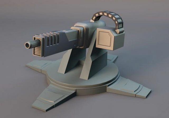 Heavy Machine Gun Turret 3d rendering