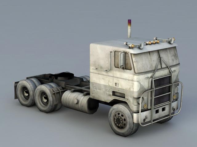 Flat Nose Semi Truck 3d rendering