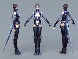 Futuristic Ninja Woman 3d model preview