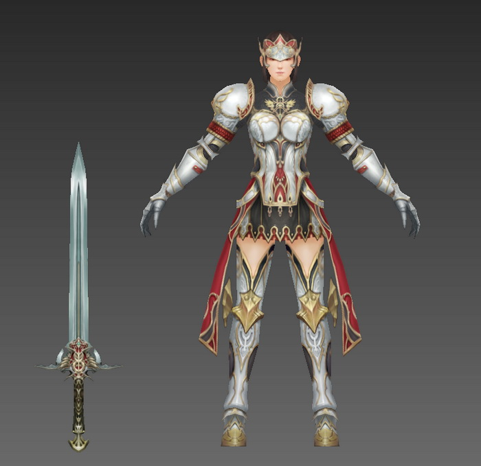 Medieval Female Knight Rigged 3d rendering