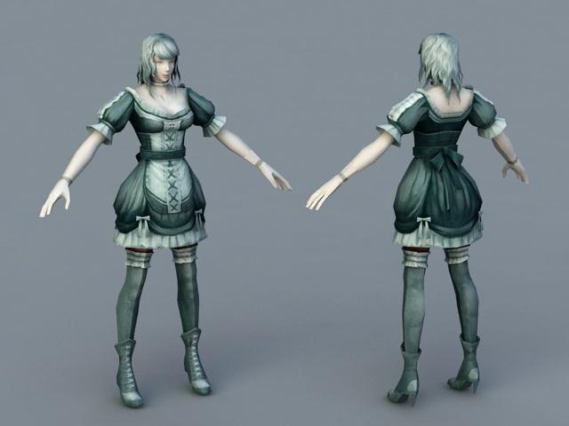 Medieval Servant Girl 3d rendering