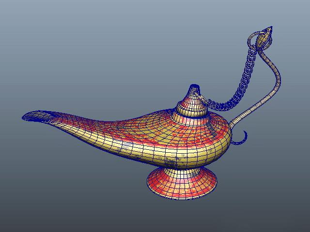 Aladdin Magic Lamp 3d rendering