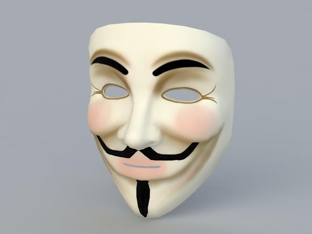 V for Vendetta Mask 3d rendering