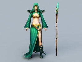 Female Mage with Staff 3d preview