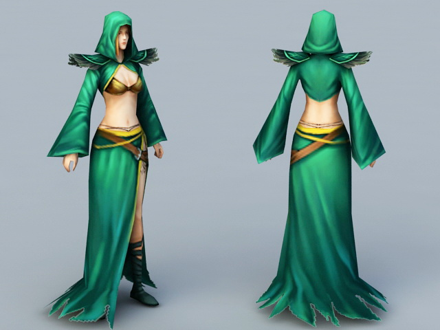 Female Mage with Staff 3d rendering