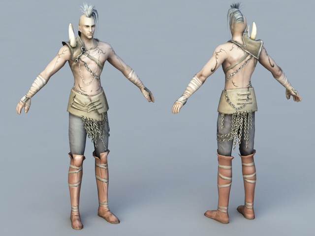 Male Barbarian Hunter 3d rendering