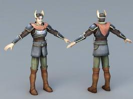 Anime Boy Warrior 3d model preview